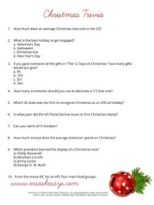 Christmas Trivia Games Printable