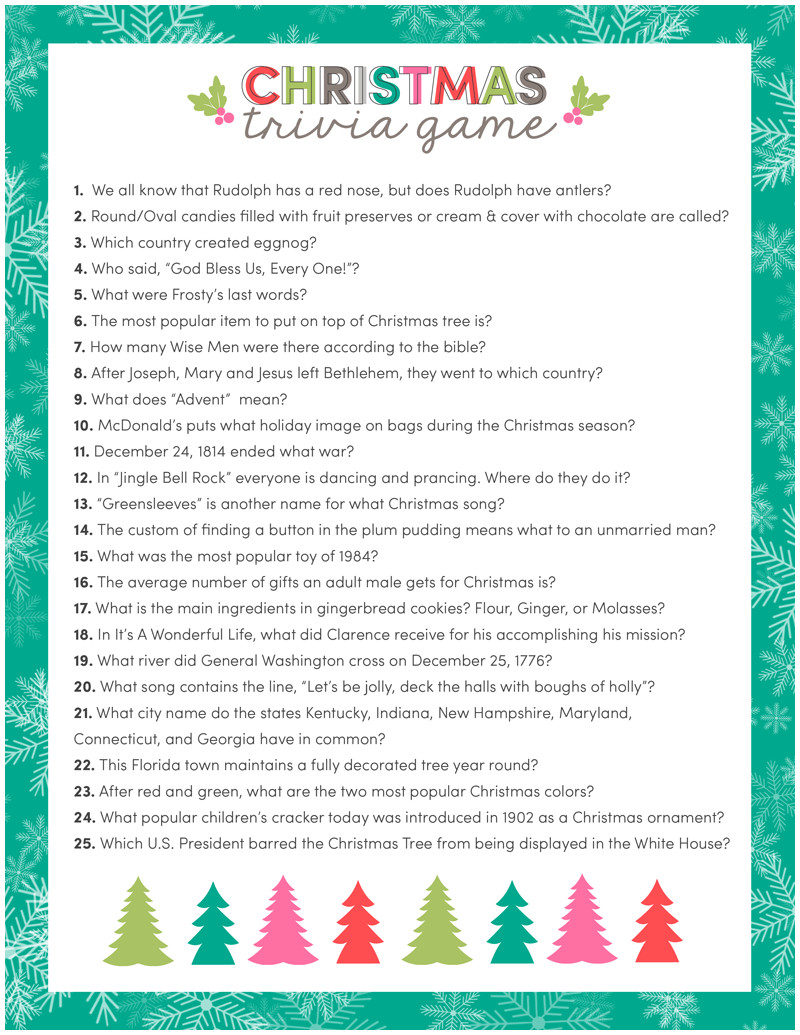 It's just a graphic of Simplicity Christmas Movie Trivia Printable