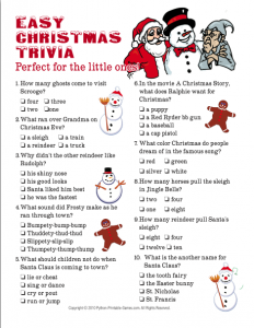 Christmas Trivia Questions and Answers Printable