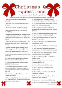 Christmas Trivia Questions and Answers for Adults