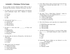 Christmas Trivia Questions with Answers