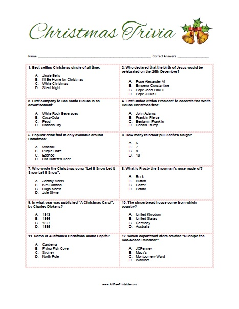 Influential image with free printable christmas bible trivia