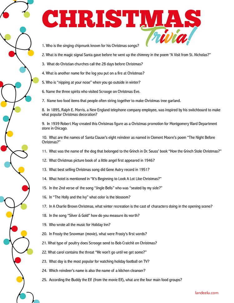 graphic relating to Christmas Carol Trivia Printable known as 56 Fascinating Xmas Trivia