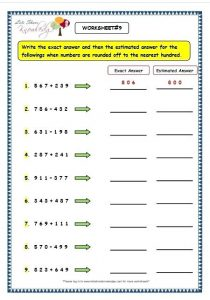 Estimation Addition and Subtraction Worksheets