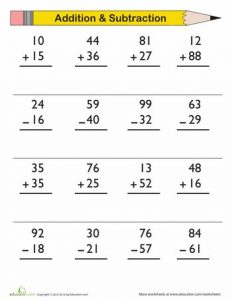 Free Math Worksheets for Kindergarten Addition and Subtraction