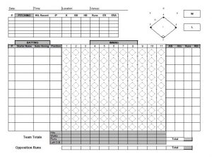 Inning by Inning Lineup Card