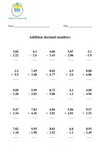 Math Worksheets for Grade 5 Addition and Subtraction