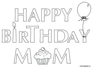 Printable Coloring Birthday Cards for Mom