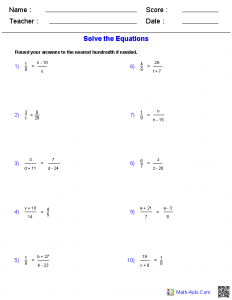 Solving Addition and Subtraction Equations Worksheets Answers