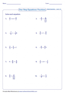 Solving Fraction Equations Addition and Subtraction Worksheets