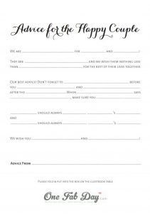 Wedding Advice For The Happy Couple Mad Lib