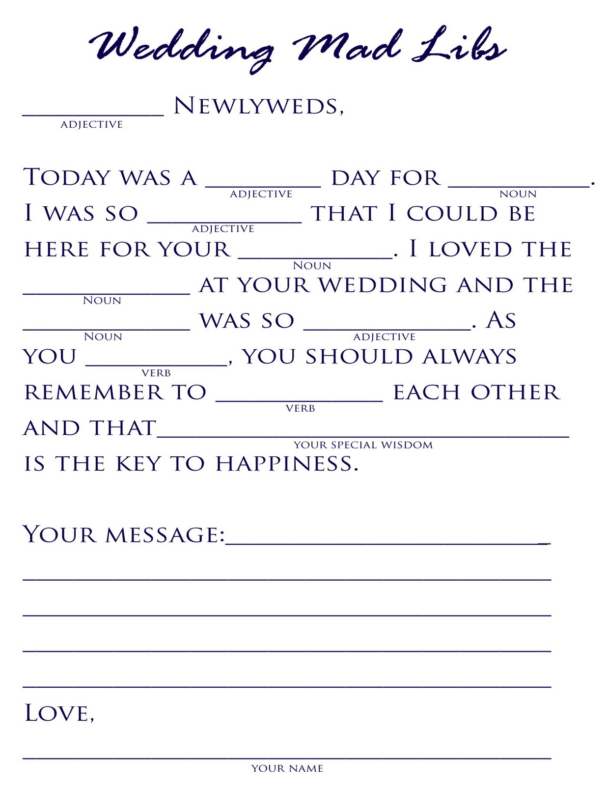 Influential image within free printable wedding mad libs