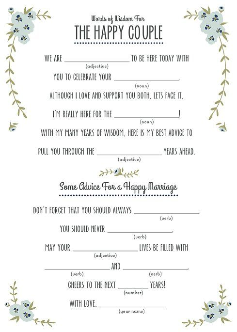 It is a graphic of Breathtaking Wedding Mad Libs Printable