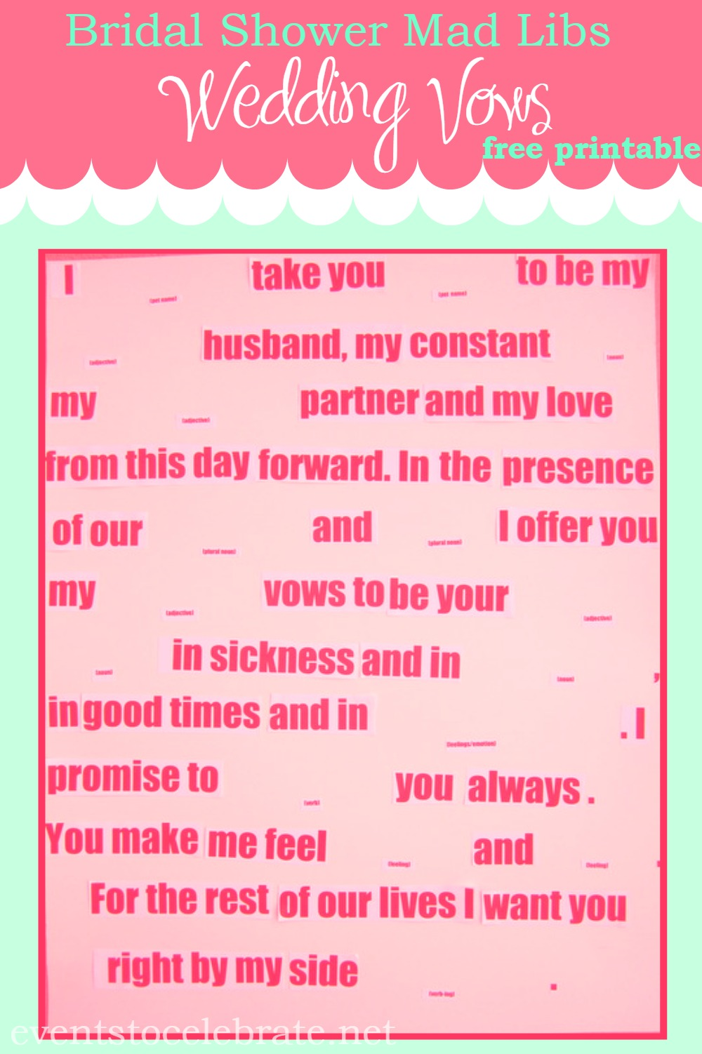 This is a photo of Gutsy Wedding Mad Libs Printable