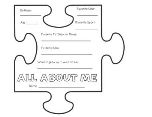 All About Me Jigsaw Puzzle Worksheet