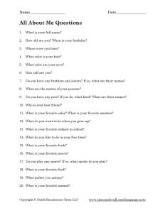 All About Me Question For Kids Worksheet