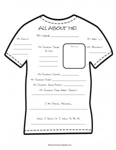 All About Me Worksheet Middle School