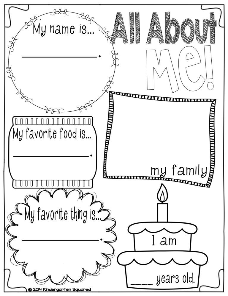 33 Pedagogic 'All About Me' Worksheets   KittyBabyLove.com