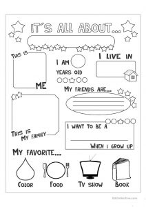 All About Me Worksheet for Elementary Students