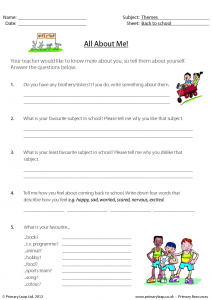 All About Me Worksheet for Teenagers
