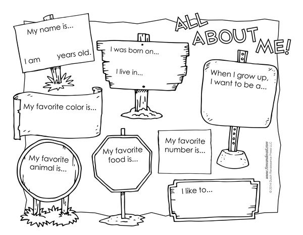Transformative image with regard to all about me free printable worksheet
