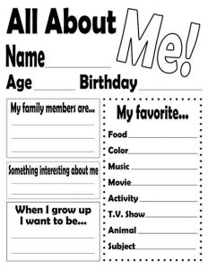 All About Me Worksheets 1st Grade