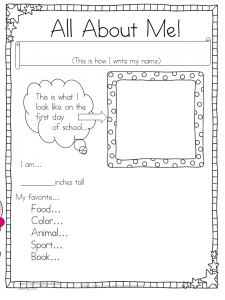 All About Me Writing Worksheet