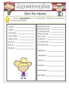 Apostrophe Contractions Worksheets Ks2