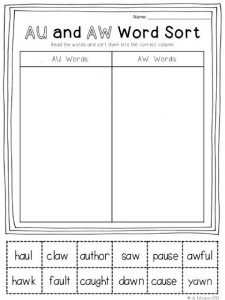 Aw Phonics Worksheets