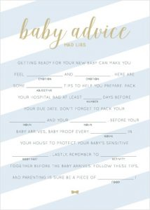 Baby Shower Mad Lib Game