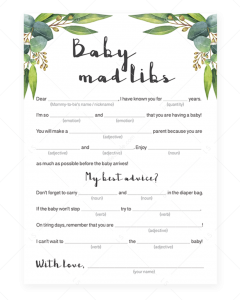 Baby Shower Mad Libs Advice