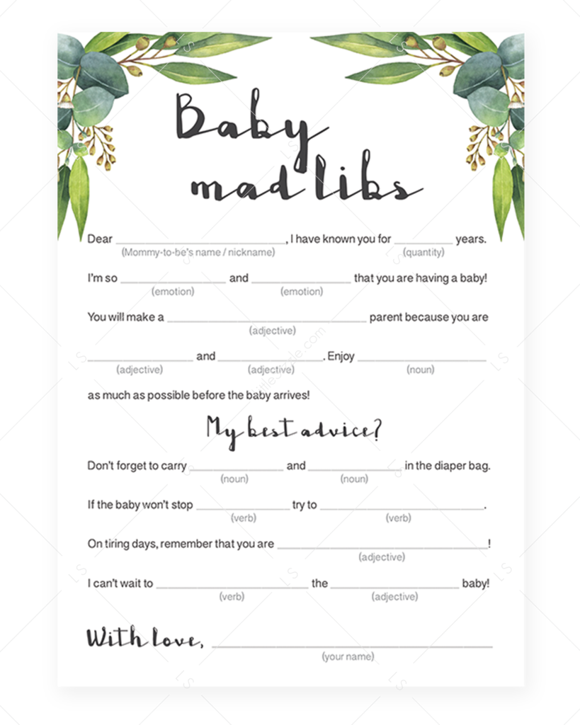 Amazing image with regard to baby shower mad libs printable free
