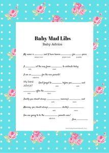 Baby Shower Mad Libs Free Template