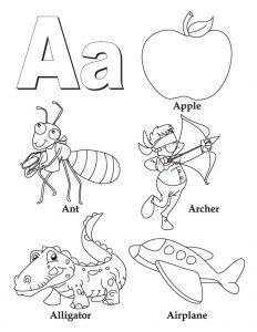 Beginning Sound Letter A Coloring Worksheets for Kindergarten