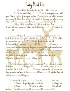 Best Baby Shower Mad Libs Printable Story