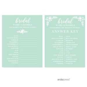 Bridal Shower Word Scramble Answer Key
