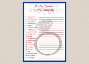 Bridal Shower Word Scramble Game
