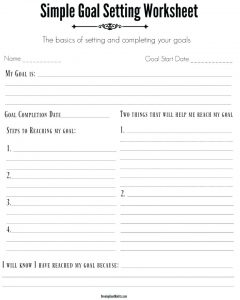 College Goal Setting Worksheet