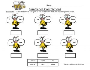 Contractions Cut and Paste Worksheet