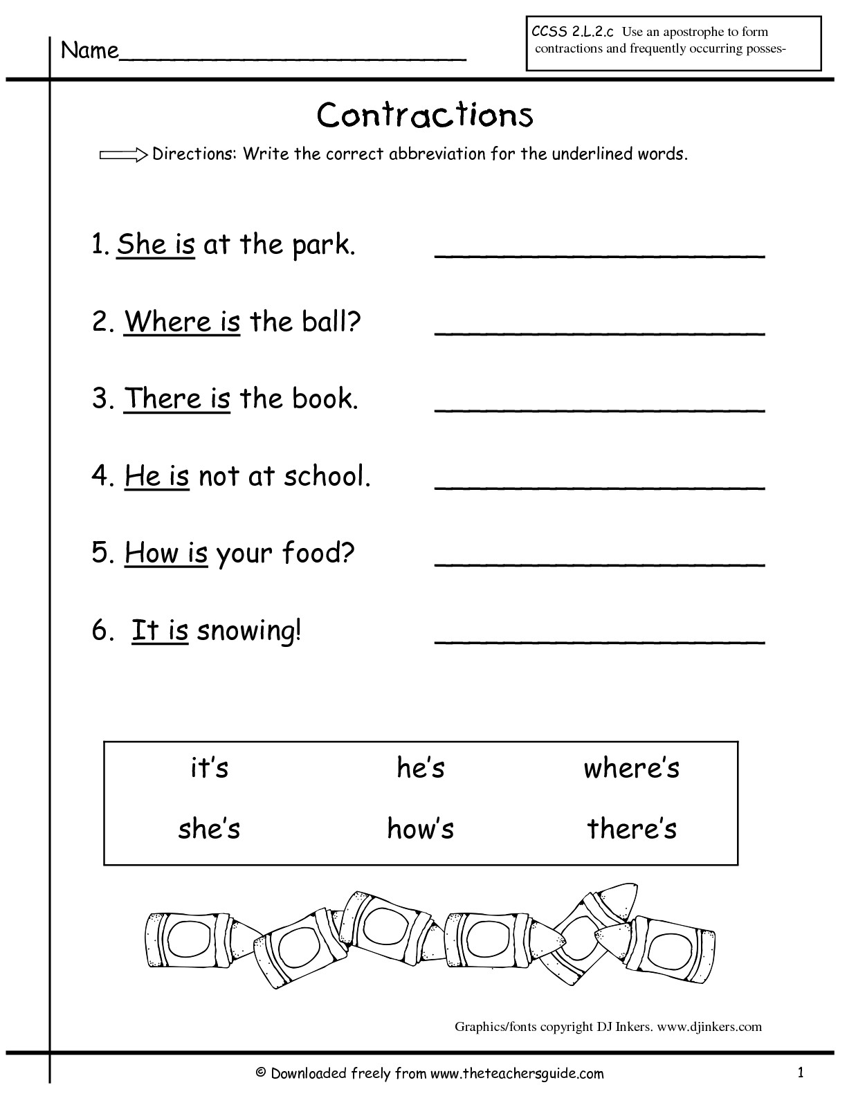 38 Contractions Worksheets for Improving Your Grammar ...