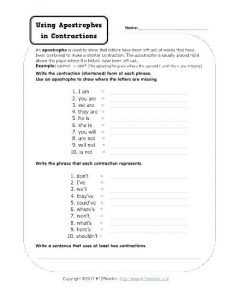Contractions in English Grammar Worksheets