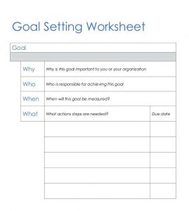 Corporate Goal Setting Worksheet