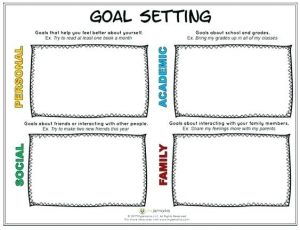 Elementary School Goal Setting Worksheet