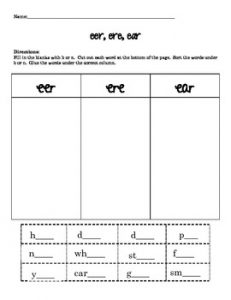 Ere Ear Phonics Worksheets
