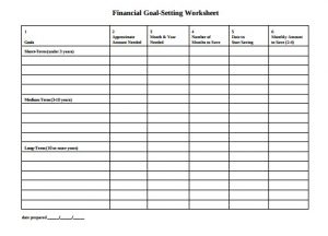 Financial Planning Goal Setting Worksheet