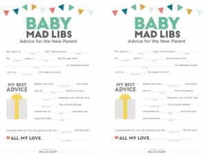 Free Baby Shower Mad Libs