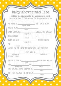 Free Baby Shower Mad Libs Template