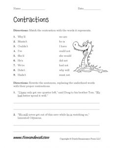 Free Contraction Worksheets