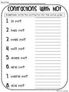 Free Printable Contractions Worksheets