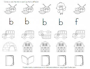 Free Printable Letter B Worksheet for Kindergarten
